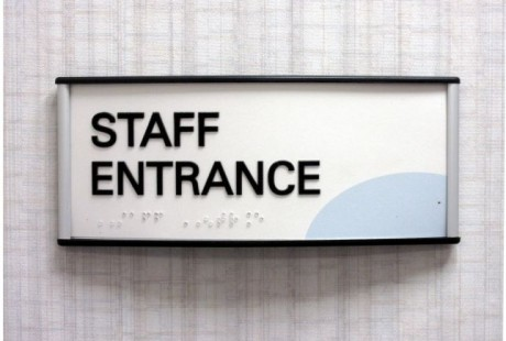 Modern ADA braille sign