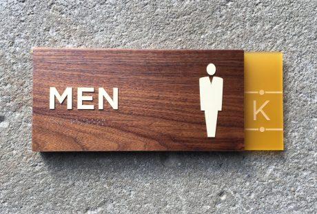 ADA mens room sign walnut wood