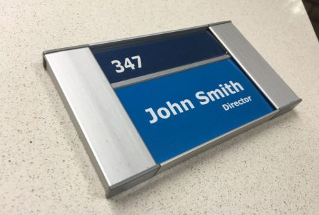 ADA room sign with a printable name insert