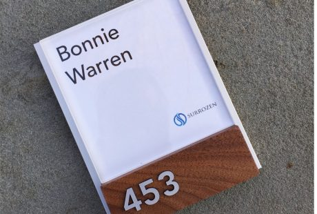 Office Name plate with print you own insert wood and aluminum