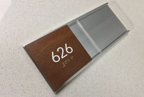 Wall name plate wood & anodized aluminum frame