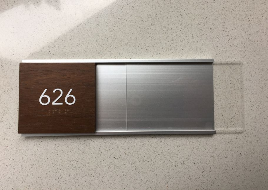 Wall Name Plate Wood Anodized Aluminum Frame