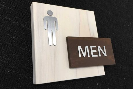 wood ada mens room sign
