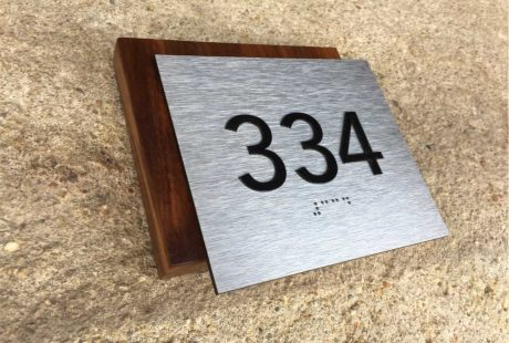 wood & brushed metal ADA room number