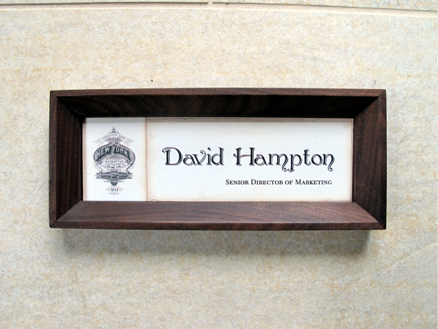 Walnut Wood Framed Name plate
