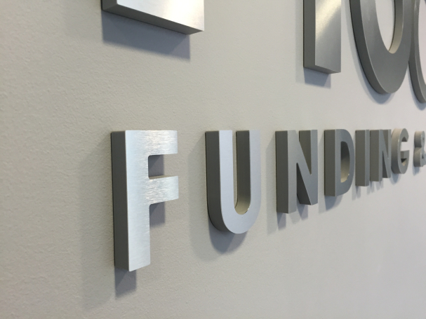 Corporate Logo Brushed Metal Letters Project Sign
