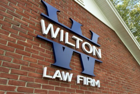 Stainless steel dimensional logo for Wilton Law Firm
