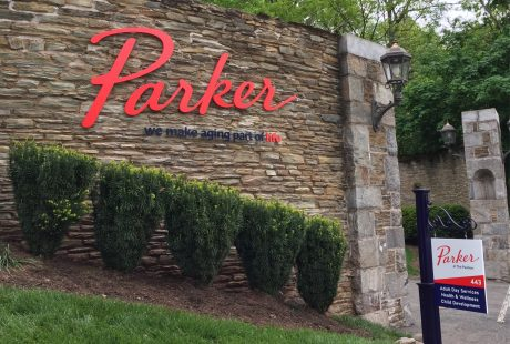 Rebranding for Parker Home logo on stone wall central New Jersey