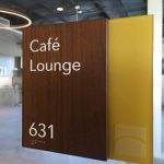 Walnut ADA Room Sign with laser etched logo