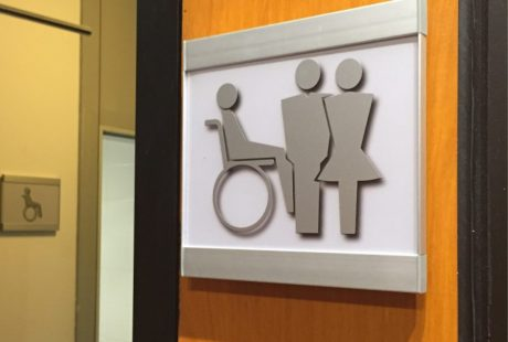 ADA restroom signs brushed metal