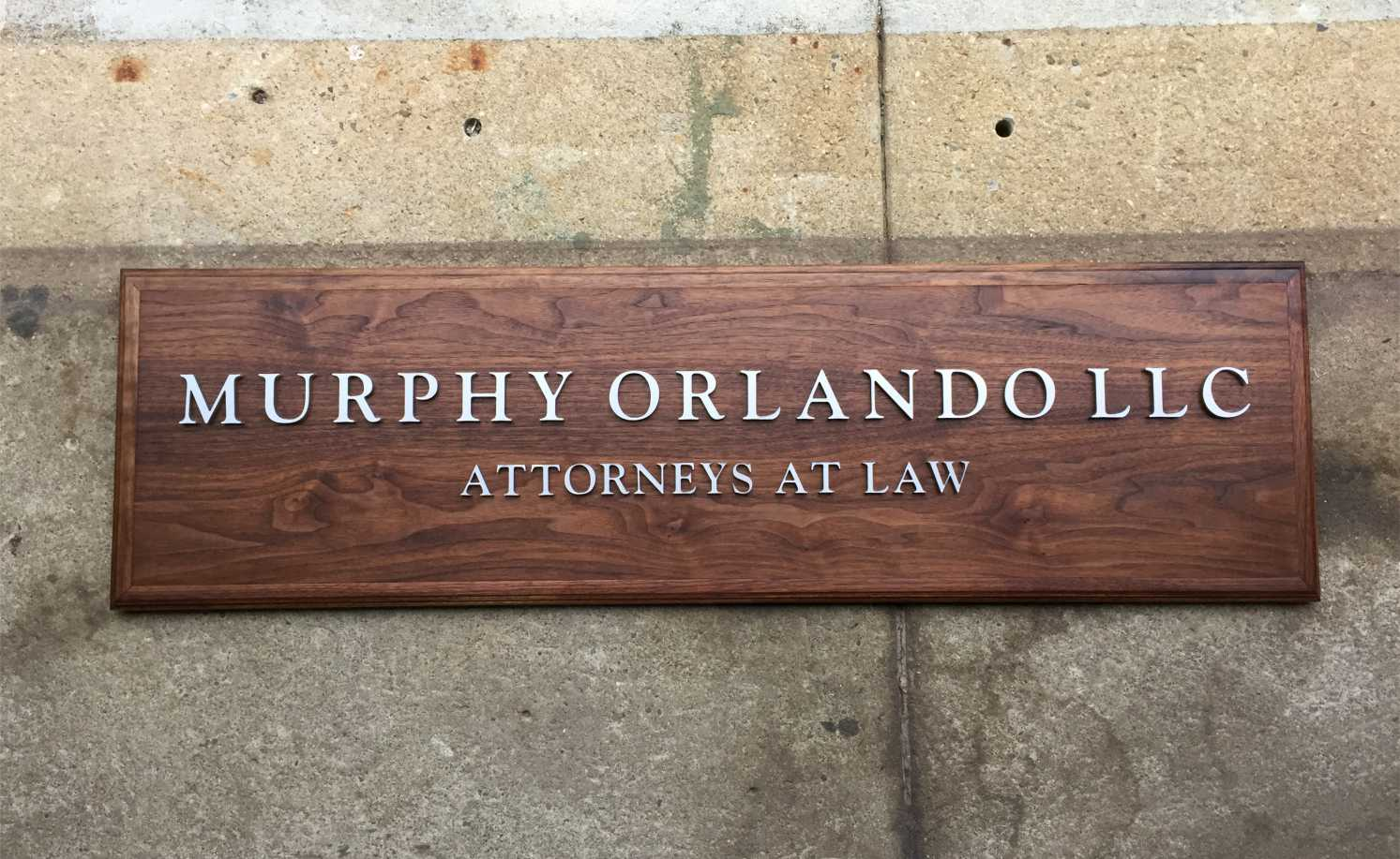 Walnut Wood Office Wall Logo With Laser Cut Letters