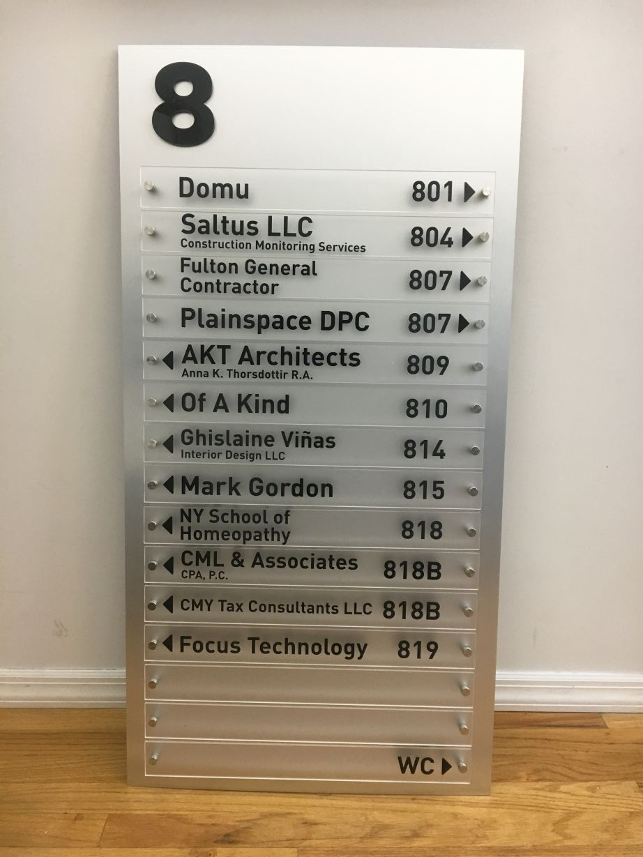 Wayfinding Building directory brushed metal with standoffs - Project